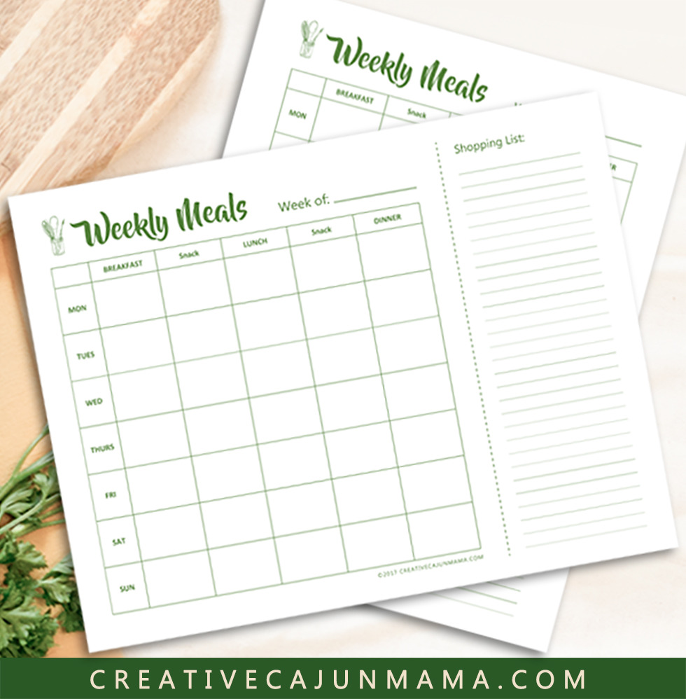 Weekly Meal Calendar Printable | Creative Cajun Mama